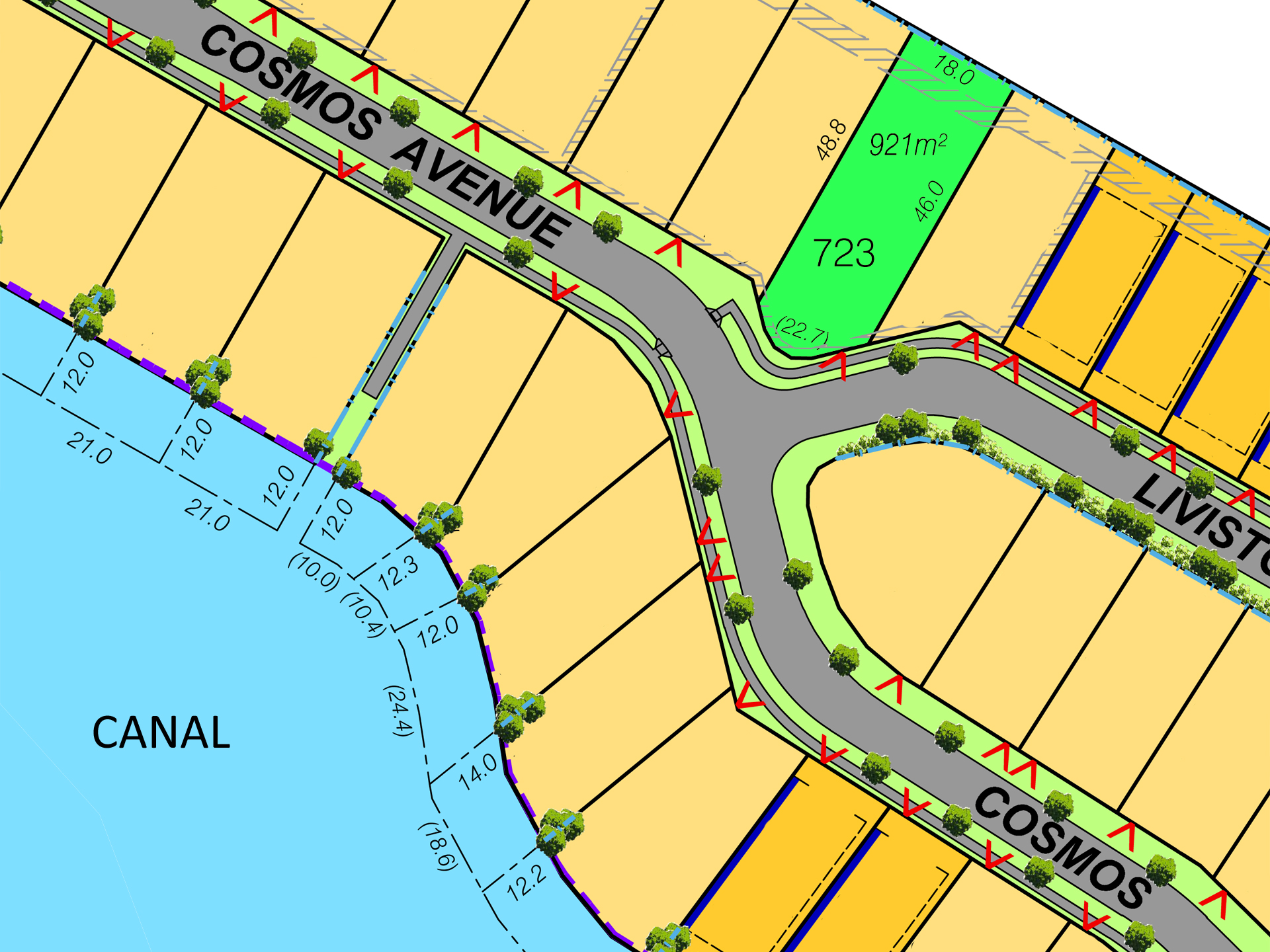 RARE WATERSIDE LAND OVER 900M2 ADJACENT CANALS