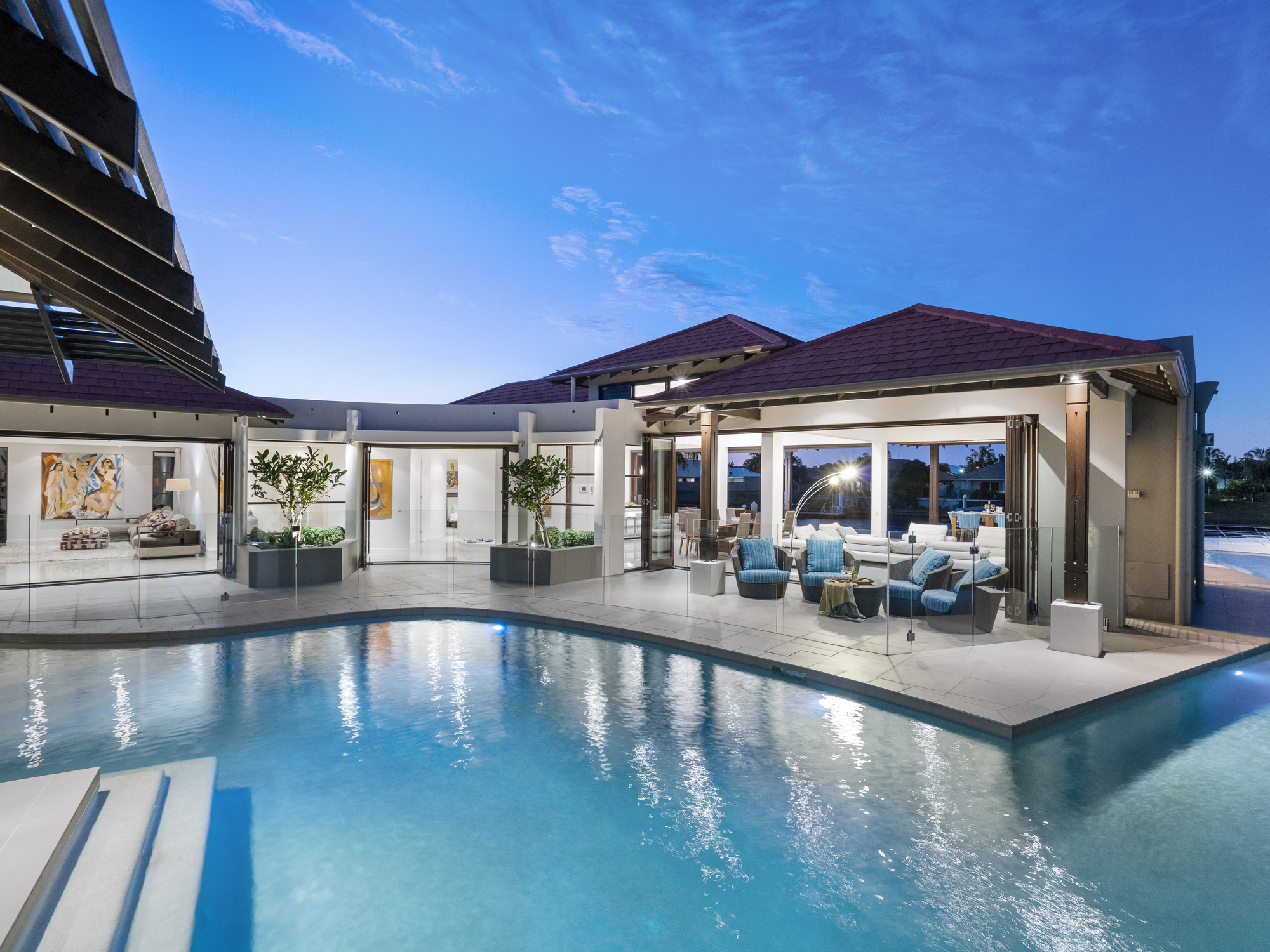 Amazing architect designed Noosa Style canal Residence with 30 metre canal frontage